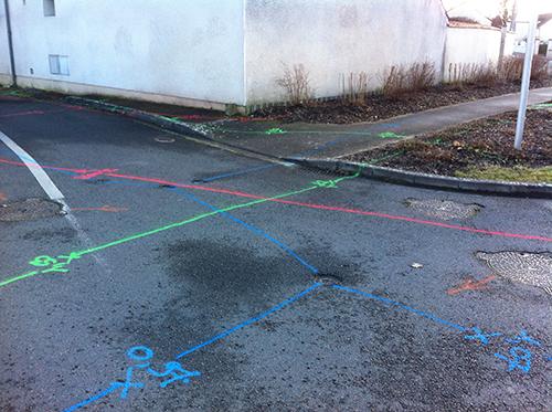marquage au sol réseaux sous-terrain